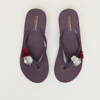 Mid-Heel Flip Flops with Floral Applique