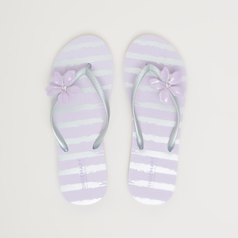 Striped Flip Flops with Flower Accent