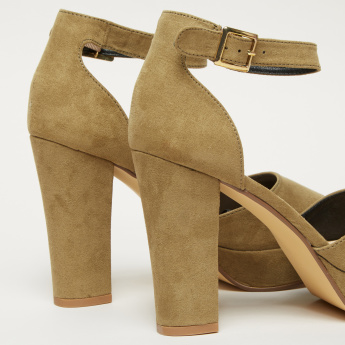 High Heel Sandals with Ankle Strap and Pin Buckle Closure