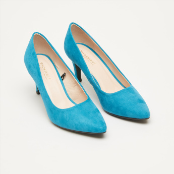 Textured Pumps with Stiletto Heels