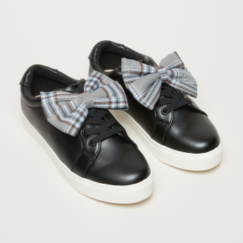 Bow and Lace Detail Slip-On Sneakers