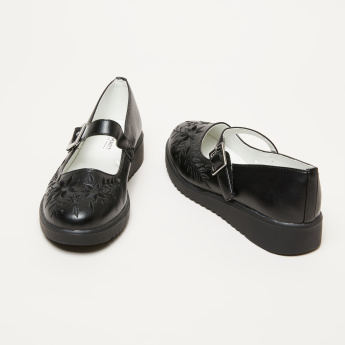 Embroidered Mary Jane Shoes with Buckle and Hook and Loop Closure