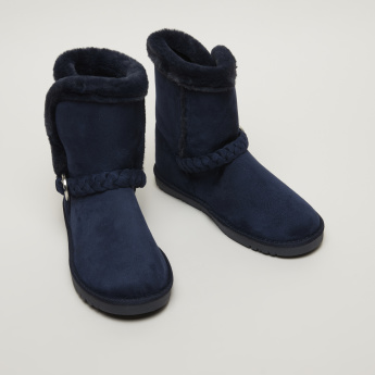 Missy Slip-On High Top Boots with Braid and Buckle Detail