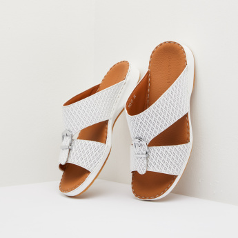 Duchini Textured Arabic Slides with Buckle Accent