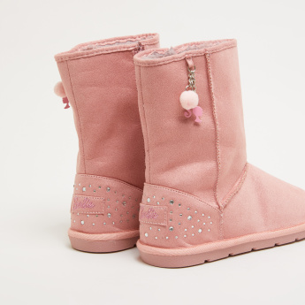 Barbie Crystal Detail High Top Boots with Zip Closure