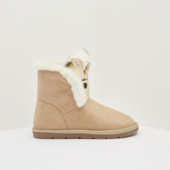 High Cut Slip On Boots with Applique and Plush Detail