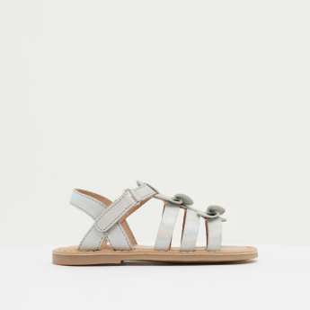 Bow Accent Sandals with Hook and Loop Closure