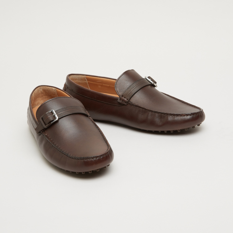 Slip-On Loafers with Buckle Detail