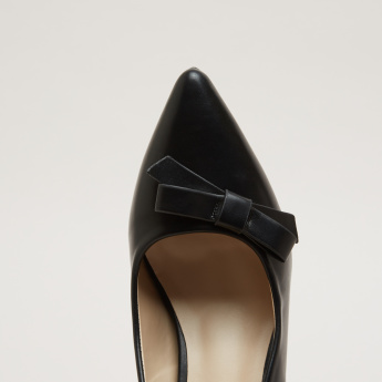 Stiletto Heel Pumps with Bow Applique