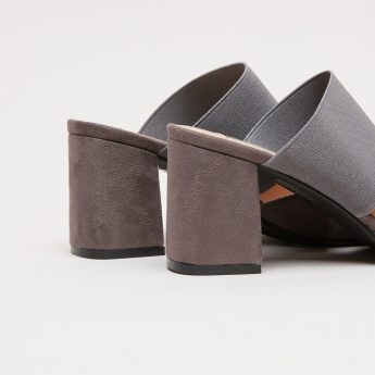Closed Toe Slides with Vamp Strap and Block Heels