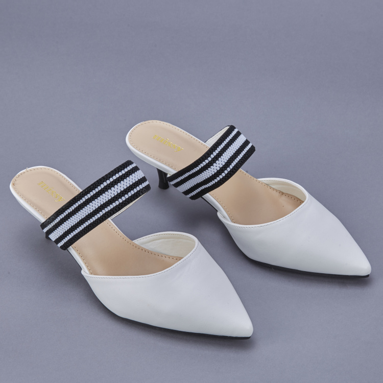 Missy Textured Kitten Heel Slides