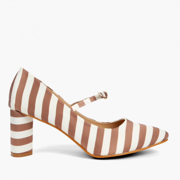 Missy Striped Block Heel Shoes with Buckle Closure