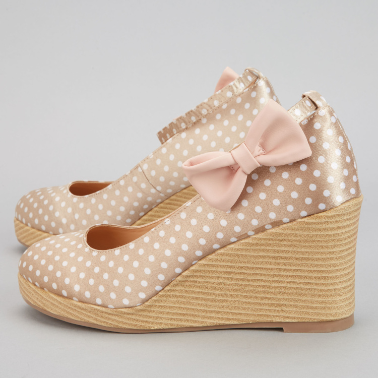 Missy Printed Wedges with Ankle Strap and Bow Detail