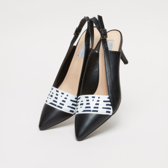Slingback Shoes with Prints and Stiletto Heels