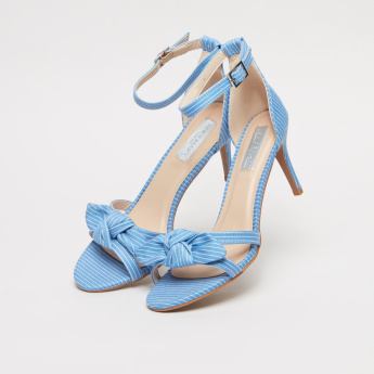 Striped Ankle Strap Sandals with Bow Detail