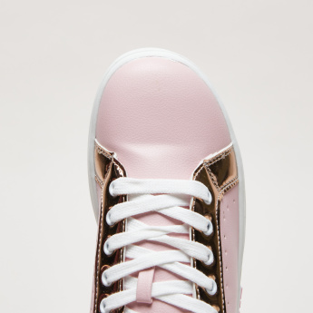 Perforated Lace-Up Sneakers with Text Applique Detail