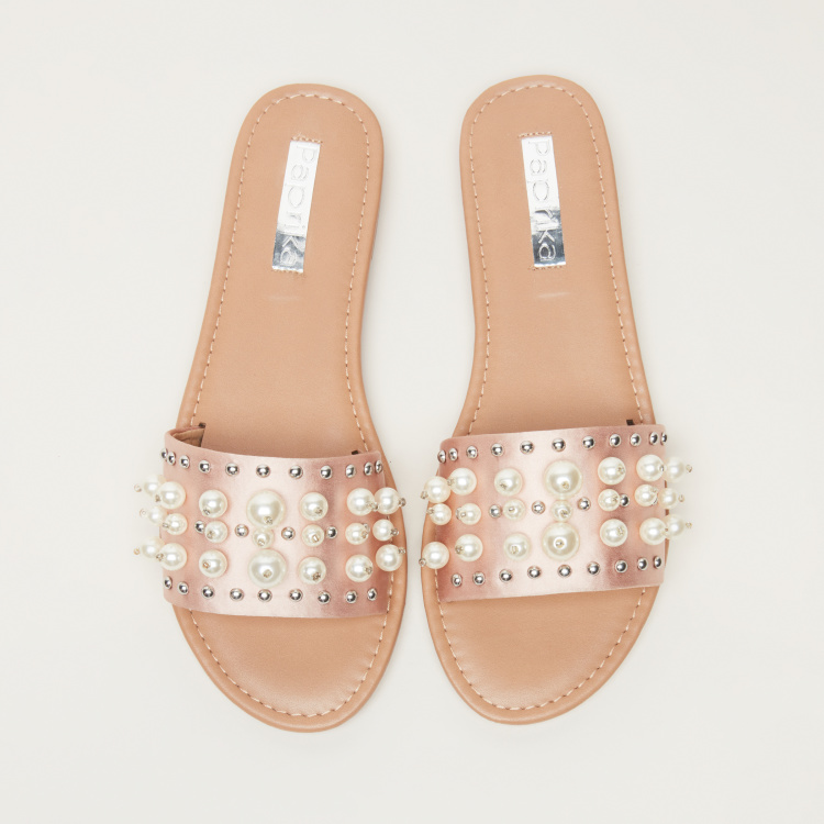 Paprika Studded Slides with Pearl Detail