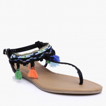 Qupid Tasseled Sandals with Buckle Closure