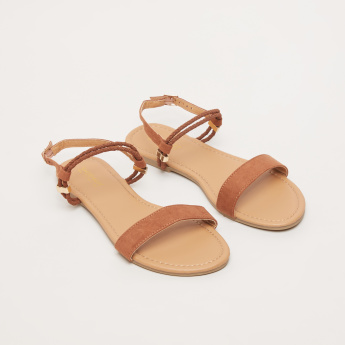Textured Sandals with Pin Buckle Closure