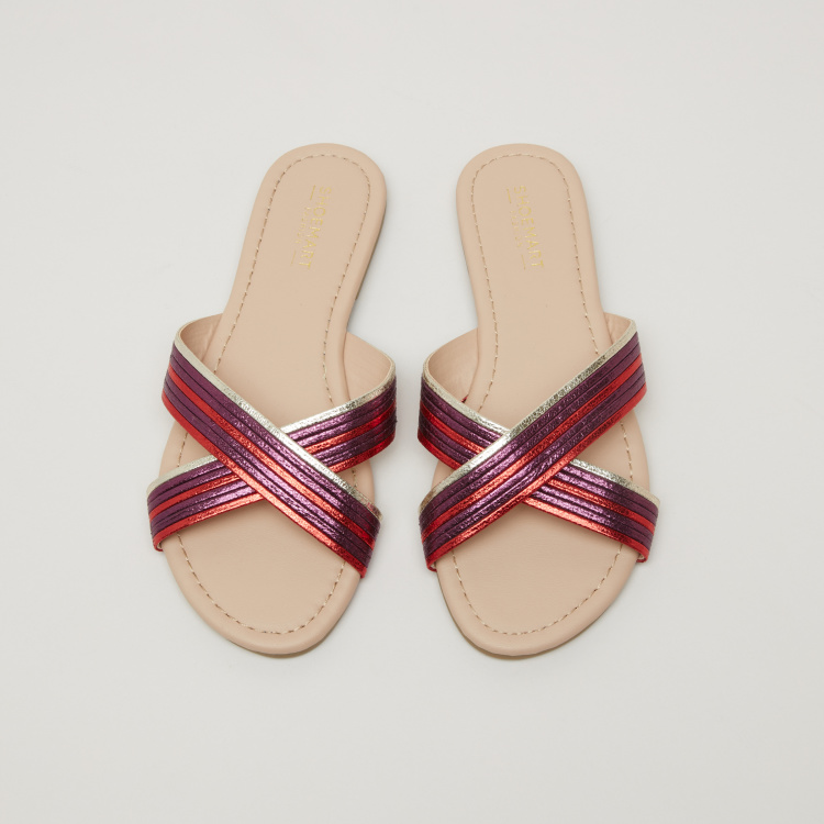 Textured Cross Strap Slides