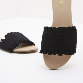 Ruffle Detail Slides with Slip-On Closure