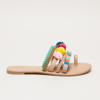 Missy Embellished Slides with Pom-Pom Detail