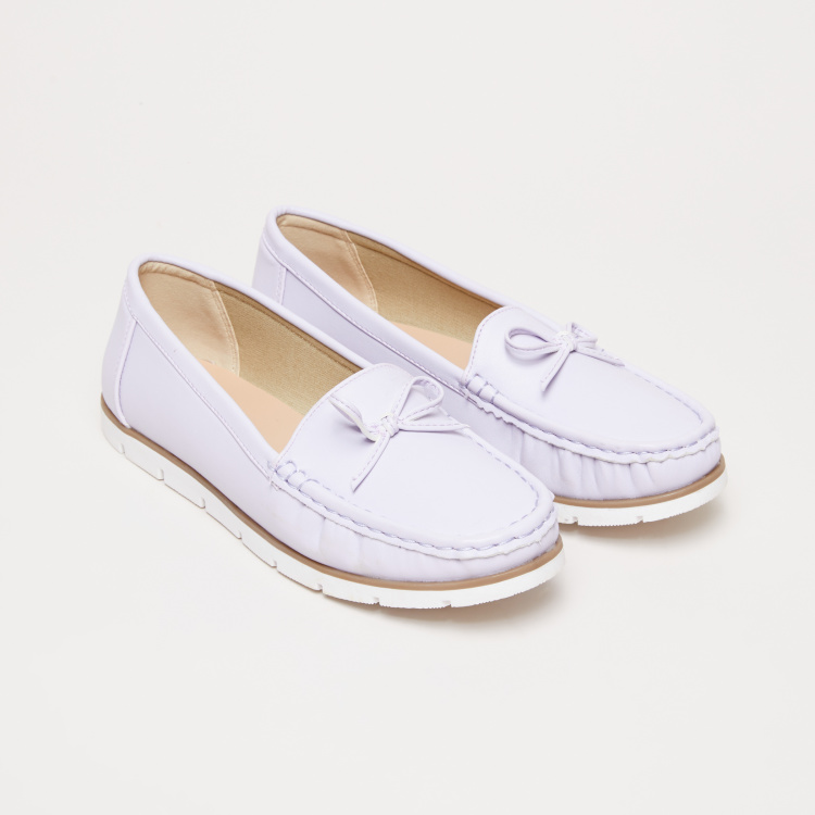 Slip-On Moccasins with Bow and Stitch Detail