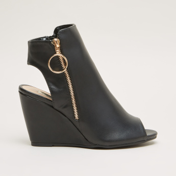 Peep Toe Wedges with Zip Closure