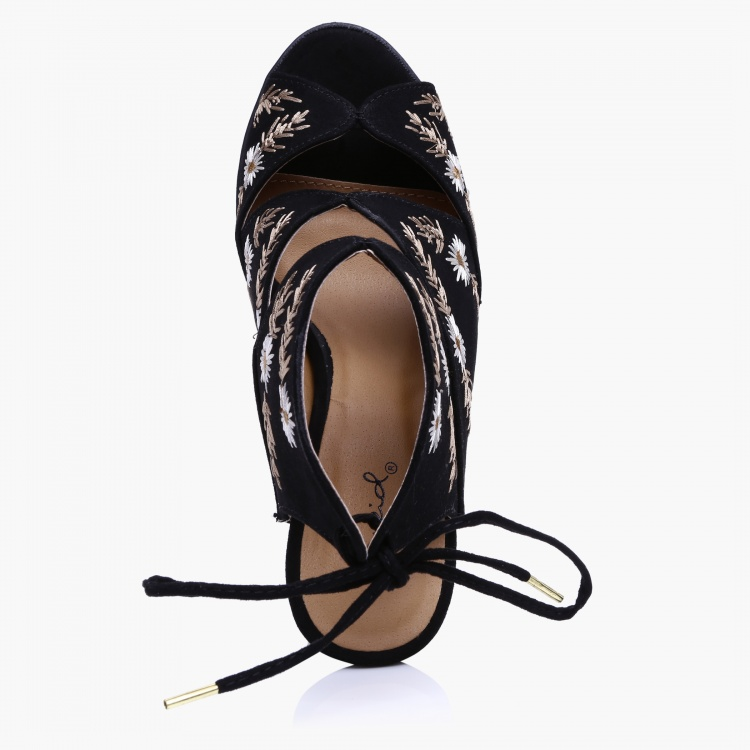 Qupid Embroidered Block Heel Sandals