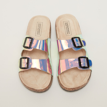 Glossy Dual Strap Slides with Buckle Detail