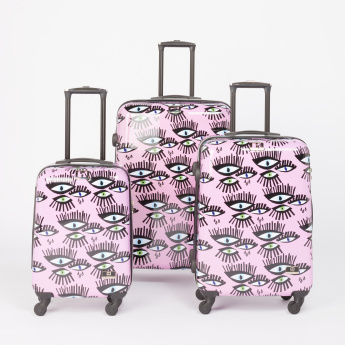 Mia Toro Eyes Printed Hard Case Trolley Bag