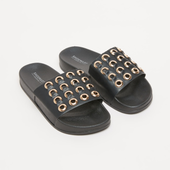 Metallic Eyelet Detail Slides