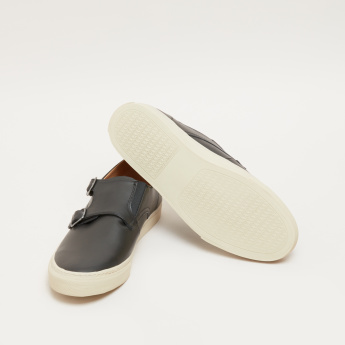 Lee Cooper Slip-On Shoes with Buckle Detail and Monk Straps