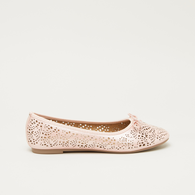 Little Missy Cut Work Ballerina Shoes with Bow Detail