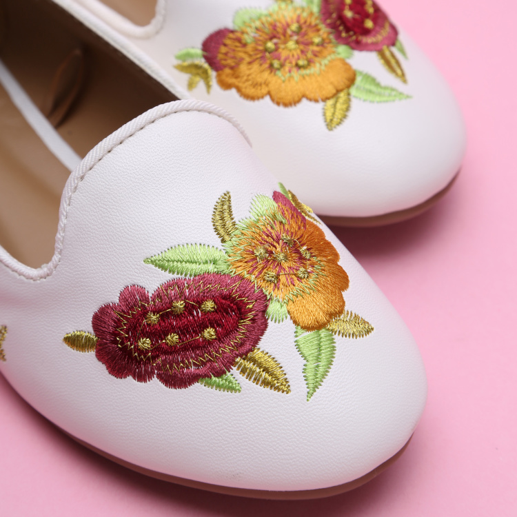 Little Missy Embroidered Slip-On Ballerina Shoes