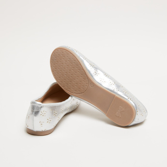 Metallic Slip-On Ballerina Shoes with Laser Cut Detail