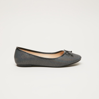 Textured Slip-On Shoes with Bow Detail