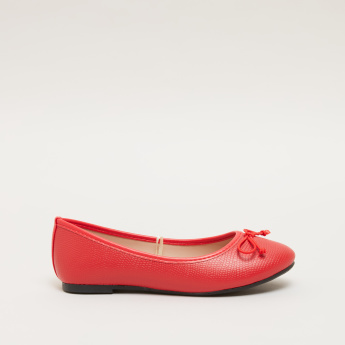 Textured Slip-On Ballerina Shoes with Bow Detail