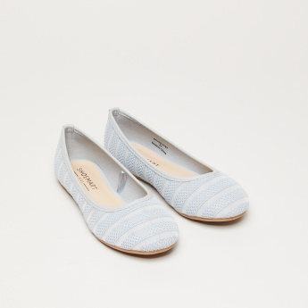 Textured Slip-On Ballerina Shoes