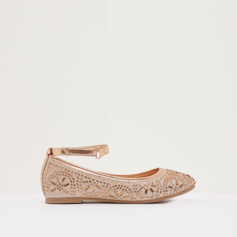Embellished Ankle Strap Ballerina Shoes with Hook and Loop Closure