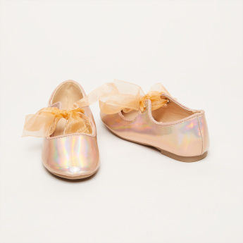 Metallic Mary Jane Shoes with Tie Ups
