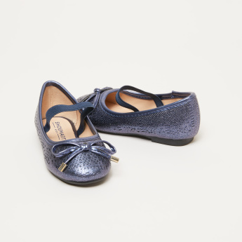 Textured Mary Jane Shoes with Bow Applique and Elasticised Band