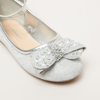 Embellished Shoes with Ankle Strap and Hook and Loop Closure