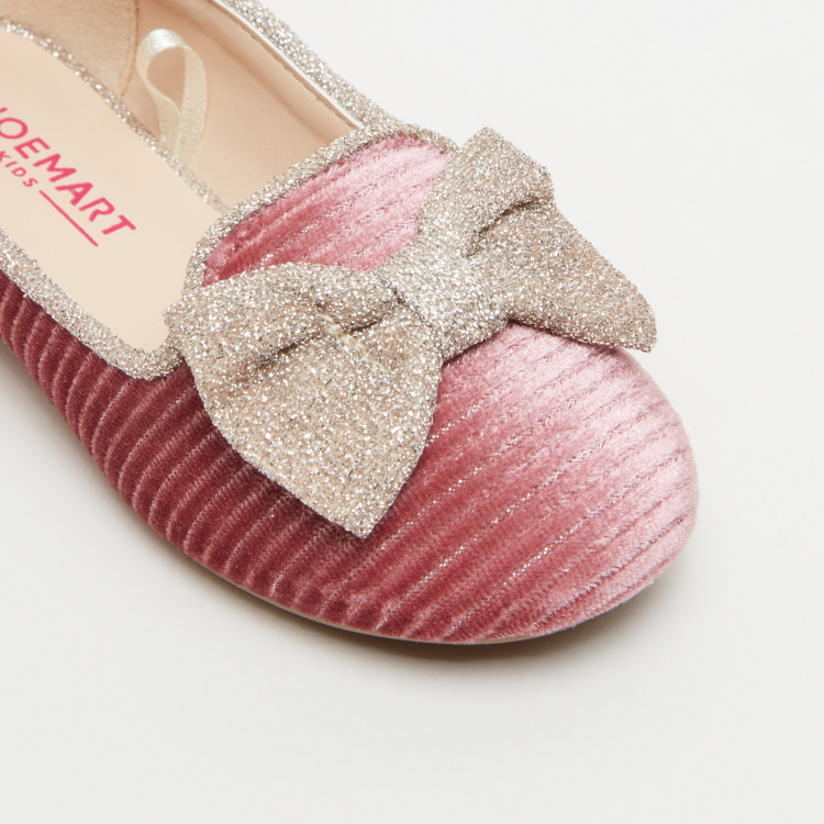 Textured Ballerina Shoes with Bow Applique