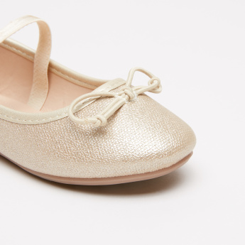 Textured Mary Jane Shoes with Bow Detail and Elasticised Strap