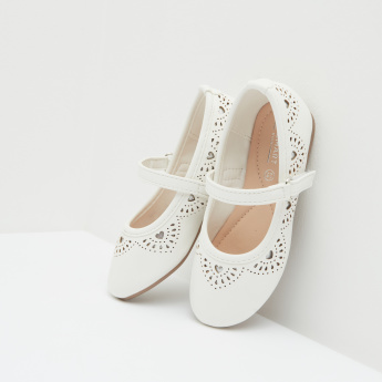 Laser-Cut Mary Janes with Hook & Loop Closure