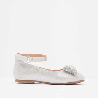Textured Ankle Strap Ballerina Shoes with Hook and Loop Closure