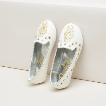 Barbie Printed Ballerina Shoes with Embellishment