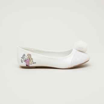 Barbie Slip-On Ballerinas with Pom-Pom Detail