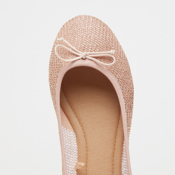 Mesh Slip-On Ballerina Shoes with Bow Detail